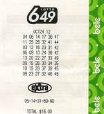 Lotto winner for Canada Lotto 6/49