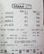 Malaysia Sabah 4D First Prize winning lottery ticket